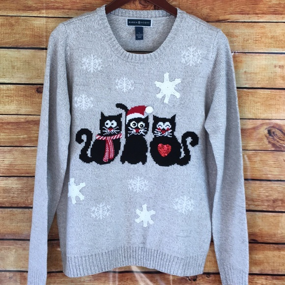 Kitten Christmas Sweater.Karen Scott Trio Kitten Christmas Sweater